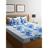Bombay Dyeing 130 TC Polyester and Cotton Double Bedsheet with 2 Pillow Covers - Folige, Blue