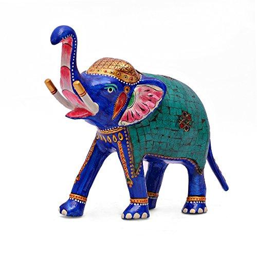 fant Figur, Hand Arbeit von Coral Türkis auf Metall Statue–Meenakari Art Hand Painting (Türkis Elefanten-statue)