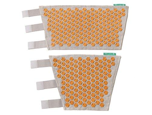 Blumenfeld Akupressur Bein Set aus Natur Leinen - Fördert Durchblutung und Blutzirkulation - Reflexzonenmassage, Beinmassage, Wadenmassage, Oberschenkelmassage, Druckpunktmassage (Natur - Orange)