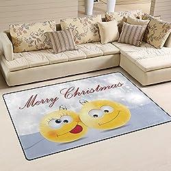 Use7 Merry Christmas Emoji Alfombra de Copo de Nieve Antideslizante Alfombrilla de Suelo Felpudo para habitación Infantil, Tela, 50 x 80 cm(1.7' x 2.6' ft)
