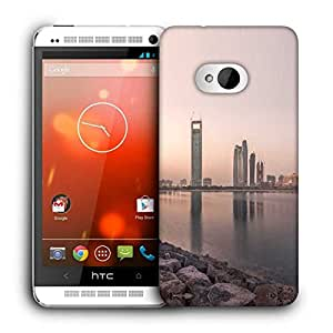 Snoogg Building Near Lake Side Printed Protective Phone Back Case Cover For HTC One M7