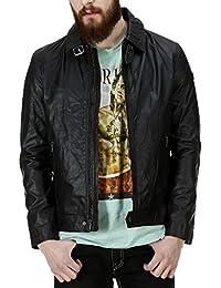 Bareskin men's black leather regular-fit classic jacket