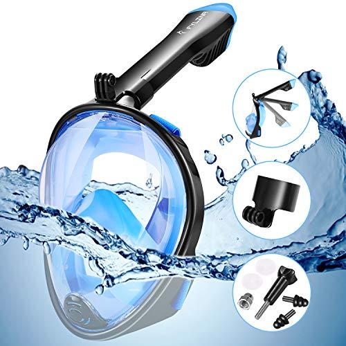 FYLINA Vollmaske Schnorchelmaske Tauchmaske Vollgesichtsmaske mit 180° Sichtfeld, Dichtung aus Silikon Anti-Fog und Anti-Leck Technologie für Alle Erwachsene und Kinder (L)