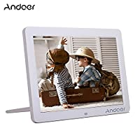 Andoer 12-inch HD LED Digital Picture Frame Wide Screen Digital Album High Resolution 1280*800 Electronic Photo Frame with Remote Control White
