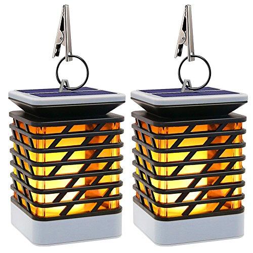 Solarleuchte Außen Solar Laterne Flackernde Flammenlampe, 75LED mit Flammenartige Beleuchtung IP55 Wasserdicht, Automatisch Ein- und Dekoration Lampen Hängeleuchte für Haus, Garten, Wege, Baum etc (2 Stücke)