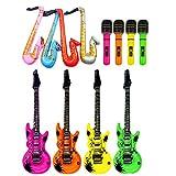 12 Stücke Aufblasbare Gitarre Saxophon Mikrofon Form Musical Spielzeug Dekorative Zubehör für Pool Party Baby Shower Hauptdekorationen Schießen Requisiten Kindertag Geschenk Zufällige Farbe