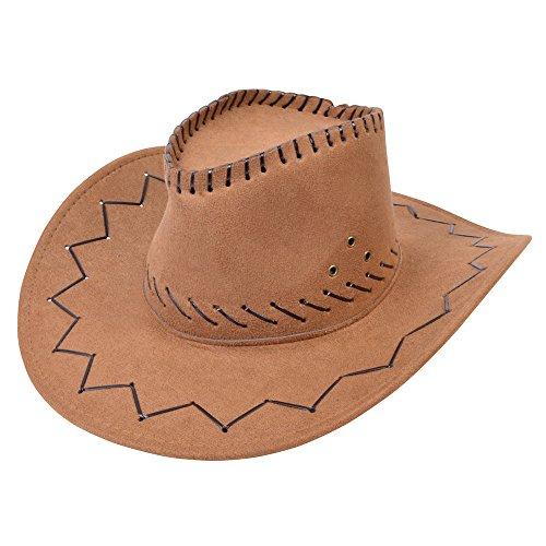 (Bristol Novelty bh425Cowboy Hat Leder genäht braun, One Size)