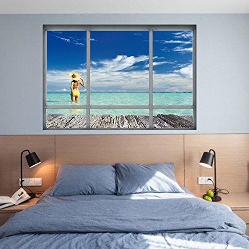 Lozse Creative 3D Windows Wandaufkleber Beach Aufkleber