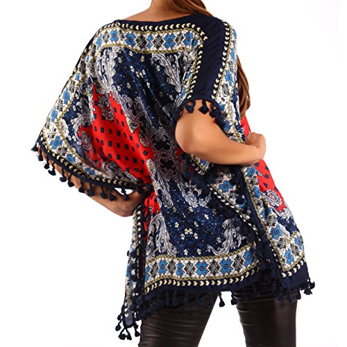 Damen Strandshirt Tunika Strandkleid Hippie Fransen Shirt Royalblau