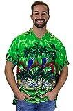 Funky Hawaiihemd, Kurzarm, Papagei, grün, L