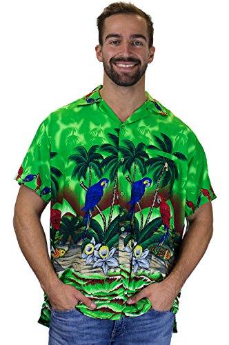 V.H.O. | Funky Hawaiihemd | Herren | Kurzarm | Front-Tasche | Hawaii-Print | Papagei Strand Blumen | Grün Grün