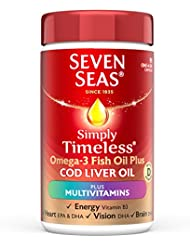 Seven Seas Simply Timeless Omega-3 Cod Liver Oil Plus Multivitamin Capsules, 90-Count