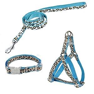 Pawz Road exklusives Set für Hunde im Leoparden Look – Leine, Halsband und Geschirr Blau S