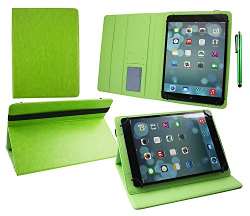 Emartbuy® Denver TAQ-10182 MK2 10.1 Zoll Tablet Universal (9-10 Zoll) Grün PremiumPULederMulti-AngleExekutiveFolioGeldbörseTascheHülle Grün InnenraummitKartensteckplätze + Grün Eingabestift