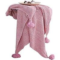 Amabubblezing Manta del Tiro del algodón de los Pompones para el lecho de la Comida campestre Que acampa, decoración casera Suave (Color : Red) - Muebles de Dormitorio precios