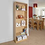 5 Shelf Wooden Bookcase Storage, Shelving Unit (Light Oak / Beech) by Christow