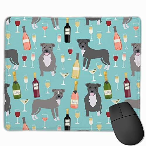 Pitbull Grey Coat Wine Champagne Cocktails Dog Breed Light Blue Mousepad 18x22 cm -