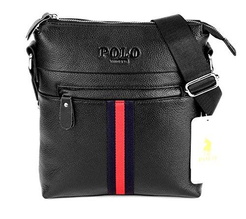 Videng polo pelle corpo trasversale borsa messager moda casuale attività commerciale borse a tracolla per uomini (nero -vg1)