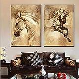 QJXX Tiere Pferde Bild 2 Stück Leinwanddrucke Imprägniern Sie Druck-Moderne Hauptdekorations-Wand-Kunst Für Raum,Noframe,50 * 70Cm*2