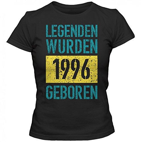 Legenden 1996 #1 T-Shirt | Jahrgang 96 | Geschenkidee | 21. Geburtstag | Frauen | Shirt © Shirt Happenz Schwarz (Deep Black L191)