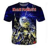 Iron Maiden Camiseta Casual patrón de Dibujos Animados de impresión de Manga Corta Cuello Redondo Camiseta Blusa Camiseta de Verano Blusa Hombres (Color : A06, Size : XXXL)