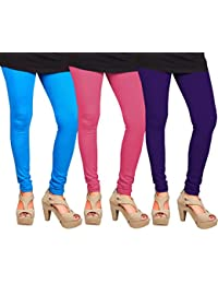 CAY 100% Cotton Combo of Purple, SkyBlue and Baby Pink Color Plain, Stylish & Most Comfortable Leggings For Girls & Women with Full Length (SIZE : Free Size)