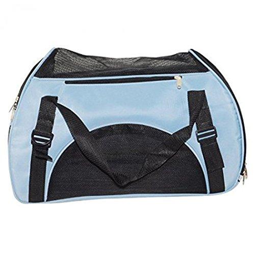 Yihya Portatile e Traspirante Pet Carrier Animale Domestico Cage Kennel Morbido Sided Cane Gatto Puppy Kitten Tote Crate Borsa di Trasporto Viaggiare Carry Bag Borsetta Size Piccolo: 44*23*32cm - Bleu