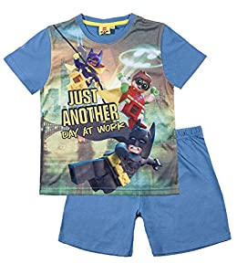 Official Batman Lego Boys Short Sleeve Pyjamas Set Cotton 3-10 Years New 2017 - Blue