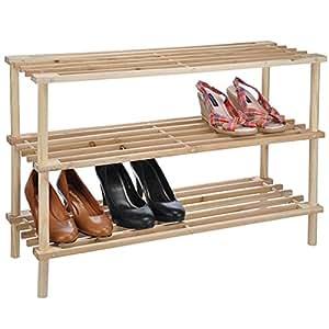holz schuhregal schuhablage schuhschrank schuhst nder helles holz 3 etagen k che. Black Bedroom Furniture Sets. Home Design Ideas