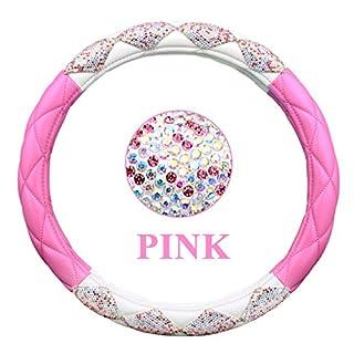 LUSTAR Damen-Auto-Lenkrad-Abdeckung mit Diamant-Gitter Girly Classy Fashion Collection Auto-Lenkrad-Abdeckung mit Krone und Diamanten,Pink1