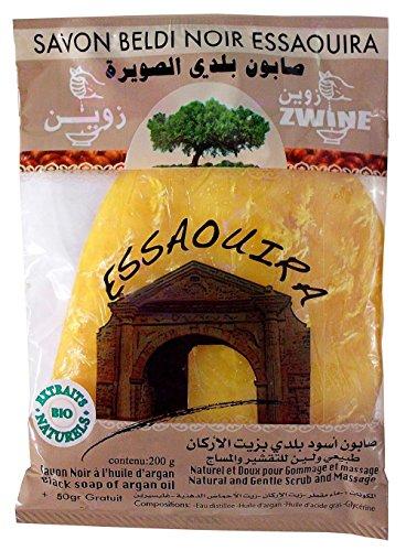 Schwarze Marokkanische Hamam Peeling Seife aus Argan-Öl, 100% Bio 200g + 50g gratis