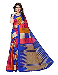 Fabwomen Sarees Floral Print Multicolor And Pink Coloured Cotton Silk Fashion Casual Wear Women's Saree/Sari.
