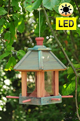 Bird House Seed Feeder With/without Lighting Garden, Weatherproof Glazed Tan Durable, Tough, Bird House/feeder Feeding Station + Modern Blau-lasur