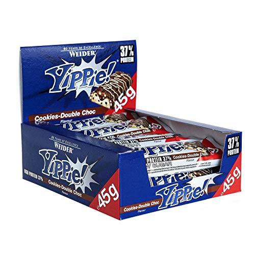 Weider Yippie Bar. Barrita de Proteína 36%. Bajo contenido en Carbohidratos y Azúcares. Sabor Galleta-Doble Chocolate (12x45 g)