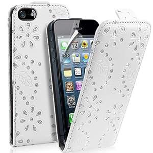 Supergets® Hülle für Apple Iphone 5 / 5S Geblümt Kunstledertasche in Lederoptik Diamantiert Hülle, Displayschutzfolie