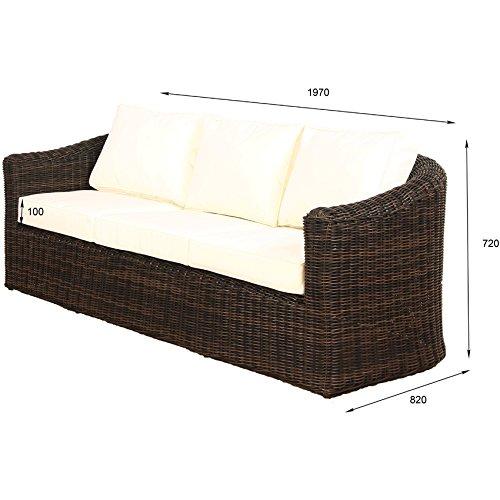 POLY RATTAN Lounge Gartenset BRAUN Sofa Garnitur Polyrattan Gartenmöbel Neu - 5
