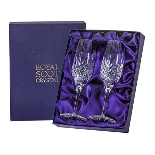 Cristal Flûtes à champagne dans boîte de présentation – Lot de 2 – Highland