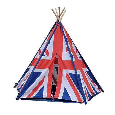 HAB & GUT ( ZK004 ) Tente de jeu RAYURES en cotton, tipi, drapeau anglais couleur : rouge/blanc/bleu, hauteur 135cm Ø 180 cm (variable), pour