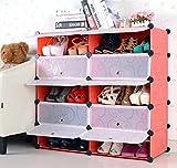 BLOIBFS Schuhregal Schuh-Plastik DIY Schrank Schuhspeicher Speicherbadezimmerregal Allzweckspeicherschrank,Red