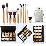 Pure Vie® 11 Pcs brochas de maquillaje + 15 Colores Corrector Camuflaje Paleta de Maquillaje Cosmética Crema - Perfecto para Sso Profesional y Diario