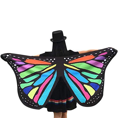 QIMANZI Schmetterling Kostüm Damen Schmetterling Flügel Umhang Schal Poncho Kostüm Zubehör für Show Daily Party Halloween Weihnachten Kostüm Cosplay(Mehrfarbig)