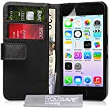 Yousave Accessories PU Leather Wallet Cover Case for iPhone 5S / 5 - Black