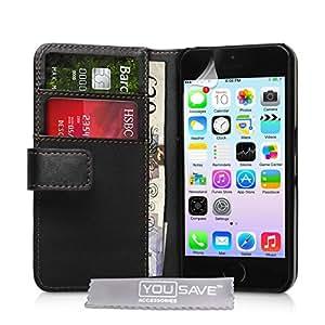 iPhone 5 / 5S Tasche Hülle - PU Ledertasche iPhone 5 / 5S Schutzhülle Brieftasche Schwarz