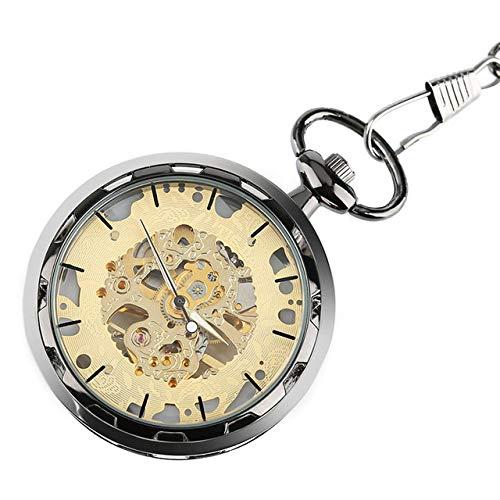 VIOPEX Taschenuhr Berühmte Marke TIEDAN transparentes Skelett mechanische Taschenuhr klassisches offenes Gesicht Design Handaufzug männliche Uhr Relogios, Retro Bronze