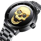 Relojes para Hombres con Dial Grande Negro Reloj Lujo Hombre con Banda de Acero Inoxidable 30M...