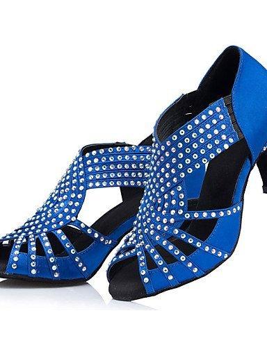 ShangYi Tanzschuhe Nicht Anpassbare - Niedriger Absatz - Beflockung - Latin - Damen Royal Blue