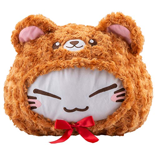 (GlamXtensions Plüschtier Nemu Neko Nemuneko Sleepy Cat Plüsch in Teddybär Verkleidung Kostüm flauschig braun Rote Schleife Weihnacht Geschenk Idee)