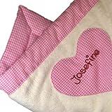 Babydecke mit Namen, Farbe: rosa kariert