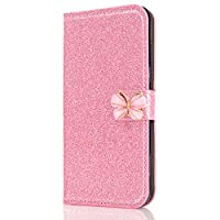 6City8Ni Kickstand Flip Wallet Leather Elegant Butterfly Sparkle Bling Glitter Diamond Stand Function Slim Bookstyle Magnetic Closure Card Slots Protective Compatible with Samsung S9 Plus