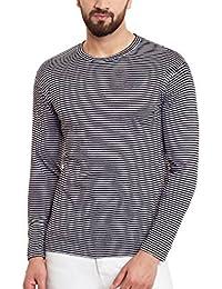 Hypernation Black And White Stripe Round Neck Cotton T-shirt For Women